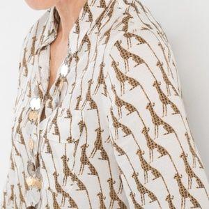Chico's silky whimsy cheetah printed blouse medium